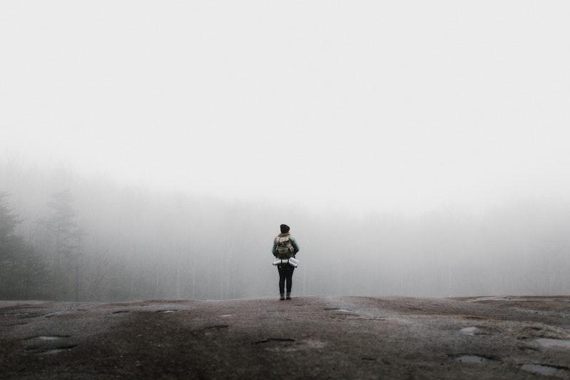 Wanderin steht vor einem nebligen Wald